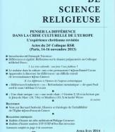 ACTES DU COLLOQUE (I) PENSER LA DIFFÉRENCE DANS LA CRISE CULTURELLE DE L'EUROPE