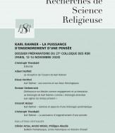 Dossier préparatoire au 27ème Colloque — KARL RAHNER — LA PUISSANCE D'ENGENDREMENT D'UNE PENSEE